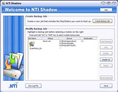 NTI Shadow 3 - Job List
