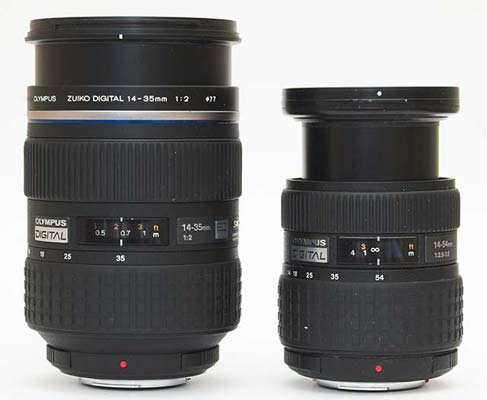 The 14-35mm f2 and the 14-54mm f2.8-3.5 lenses fully zoomed in