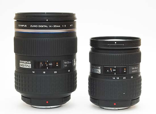 The 14-35mm f2 and the 14-54mm f2.8-3.5 lenses at their shortest